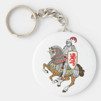 medieval knight on a horse basic round button key ring