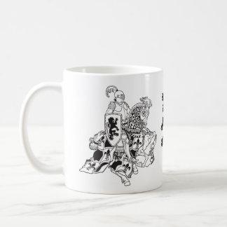 medieval knight on a horse coffee mug