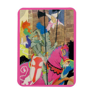 medieval knight on horseback rectangular photo magnet