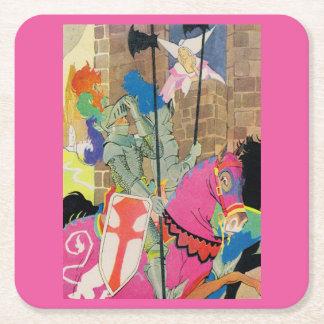 medieval knight on horseback square paper coaster