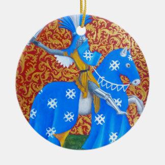 Medieval Knight Round Ceramic Decoration