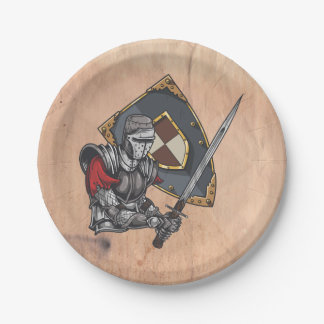 Medieval Knight With Sword and Shield Paper Plate