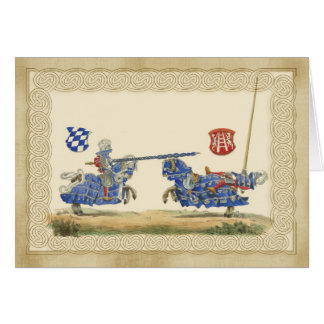 Medieval Knights Jousting in full barding and armo Greeting Card