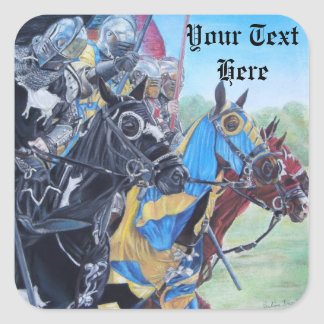 medieval knights jousting on horses art design square sticker