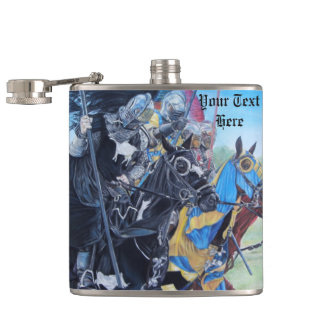 medieval knights jousting on horses art flask
