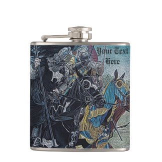 medieval knights jousting on horses art flasks