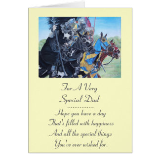 medieval knights jousting on horses art greeting card