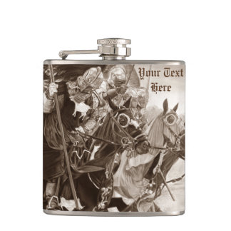 medieval knights jousting on horses art hip flask