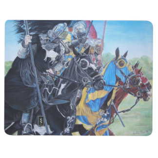 medieval knights jousting on horses art journal