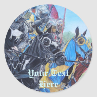 medieval knights jousting on horses art round sticker