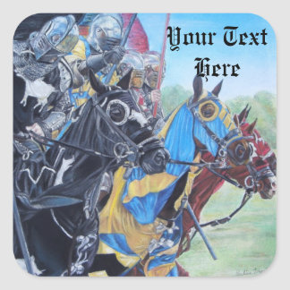 medieval knights jousting on horses art square sticker