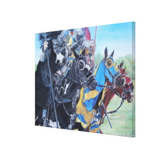 medieval knights jousting on horses historic art gallery wrapped canvas