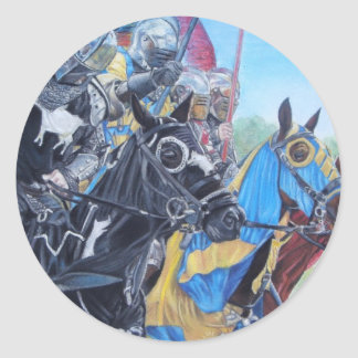 medieval knights jousting on horses historic art round sticker