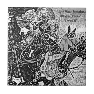 medieval Knights jousting on horses historic art Small Square Tile