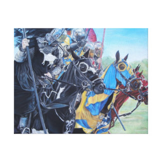 medieval knights jousting on horses historic art stretched canvas print