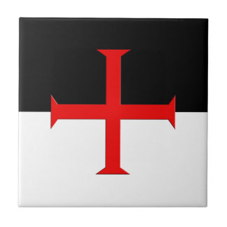 Medieval Knights Templar Cross Flag Tile
