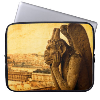 Medieval Le Stryge Gargoyle at Notre Dame, Paris Laptop Sleeves
