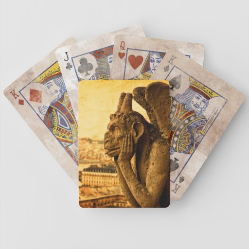 Medieval Le Stryge Gargoyle at Notre Dame, Paris Deck Of Cards