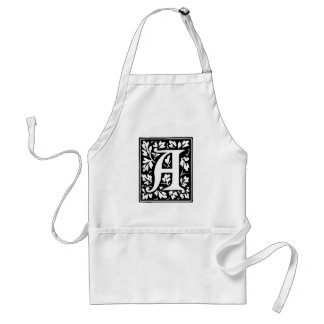 Medieval Letter A Monogram Black and White Aprons