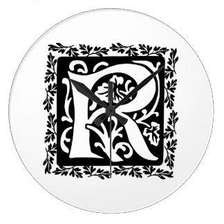 Medieval Letter R Monogram Black and White Large Clock