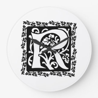 Medieval Letter R Monogram Black and White Wallclocks