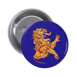 Medieval Lion on Blue 6 Cm Round Badge