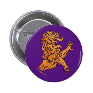 Medieval Lion on Purple 6 Cm Round Badge