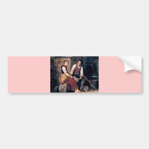 Medieval Love Woman Man painting romantic Bumper Sticker