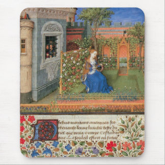 Medieval maiden in courtyard rose garden mouse pad