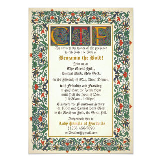 Medieval Manuscript Birthday 13 Cm X 18 Cm Invitation Card