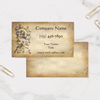 Medieval Manuscript Floral Bird Business Card