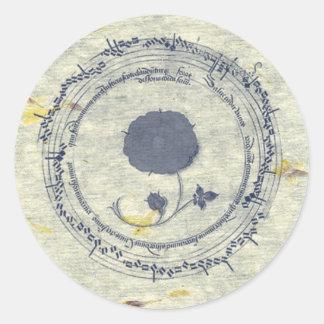 Medieval Manuscript Flower Round Sticker