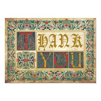 Medieval Manuscript Goth Thank You 13 Cm X 18 Cm Invitation Card