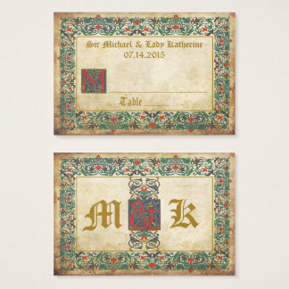 Medieval Manuscript Goth Wedding Place Cards