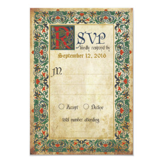 Medieval Manuscript RSVP Card 9 Cm X 13 Cm Invitation Card