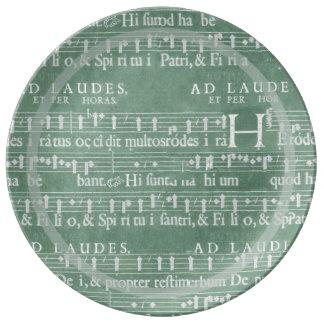 Medieval Manuscript Teal Green Plate