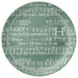 Medieval Manuscript Teal Green Porcelain Plates