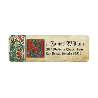 Medieval Manuscript Wedding Label Return Address Label