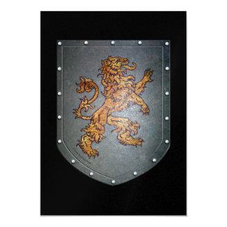 Medieval Metal Shield Lion on Black 13 Cm X 18 Cm Invitation Card