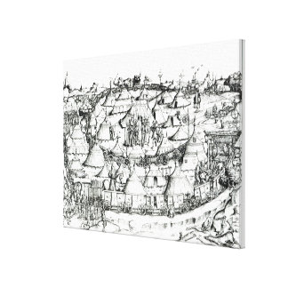 Medieval military encampment, from a book, pub. 18 canvas print