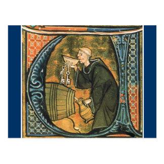 Medieval Monk Tasting Wine Postcard