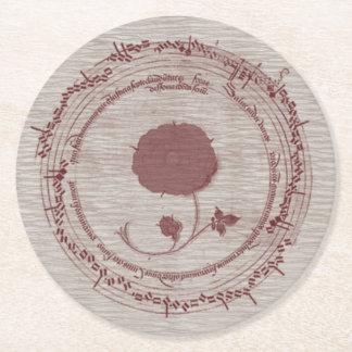 Medieval Music Manuscript Flower Round Paper Coaster