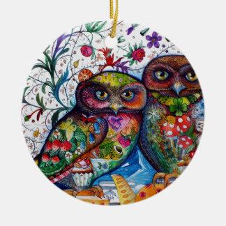 Medieval owls 1 christmas ornament