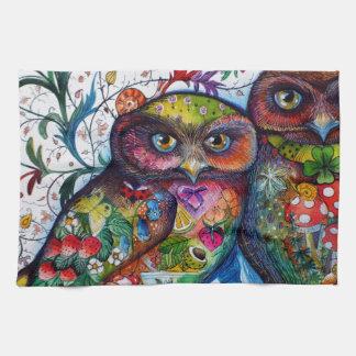 Medieval owls 1 tea towel