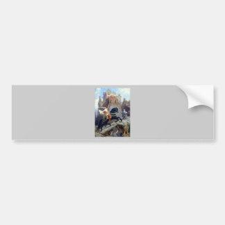 Medieval Prince black horse gnomes castle Bumper Stickers