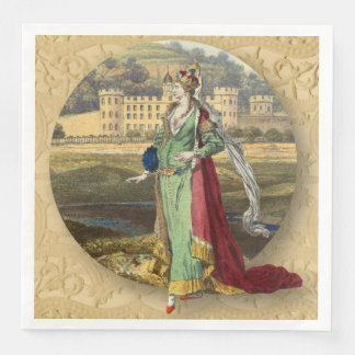Medieval Queen With Castle Disposable Serviette