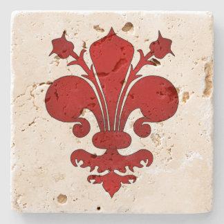 Medieval red fleur de lis symbol stone coaster