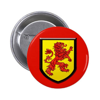 Medieval Red Lion Yellow Shield 6 Cm Round Badge