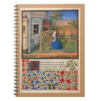 medieval rose garden spiral notebooks