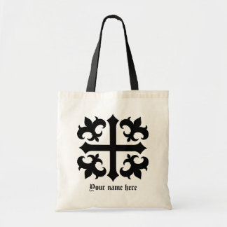 Medieval royal symbolic cross and fleur de lis tote bag